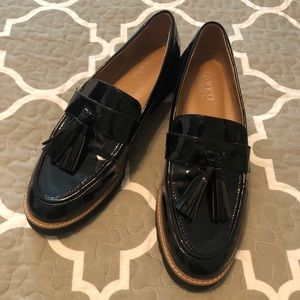 Franco Sarto Black Patten Leather Loafers size 7.5